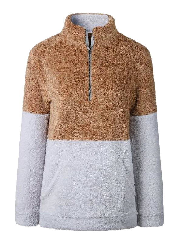 Goodnight Macaroon 'Aspen' Two-Tone Half-Zip Fleece Pullover Cognac Front