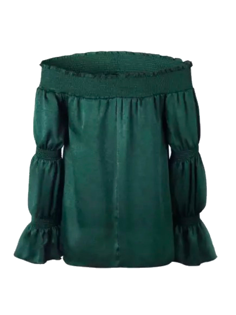 Goodnight Macaroon 'Margot' Green Velvet Off The Shoulder Top Front