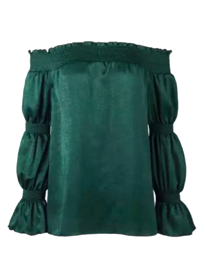 Goodnight Macaroon 'Margot' Green Velvet Off The Shoulder Top Back