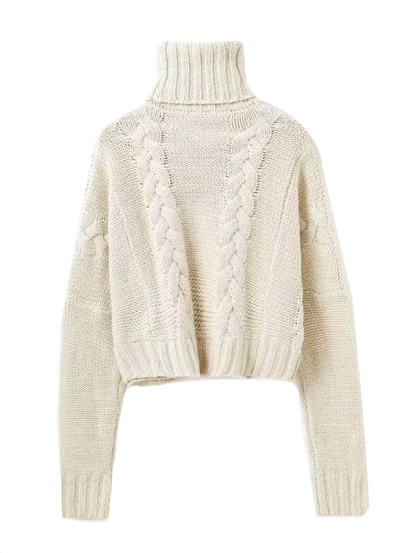 Goodnight Macaroon 'Faye' Braided Knit Cropped Turtleneck Sweater Product Back