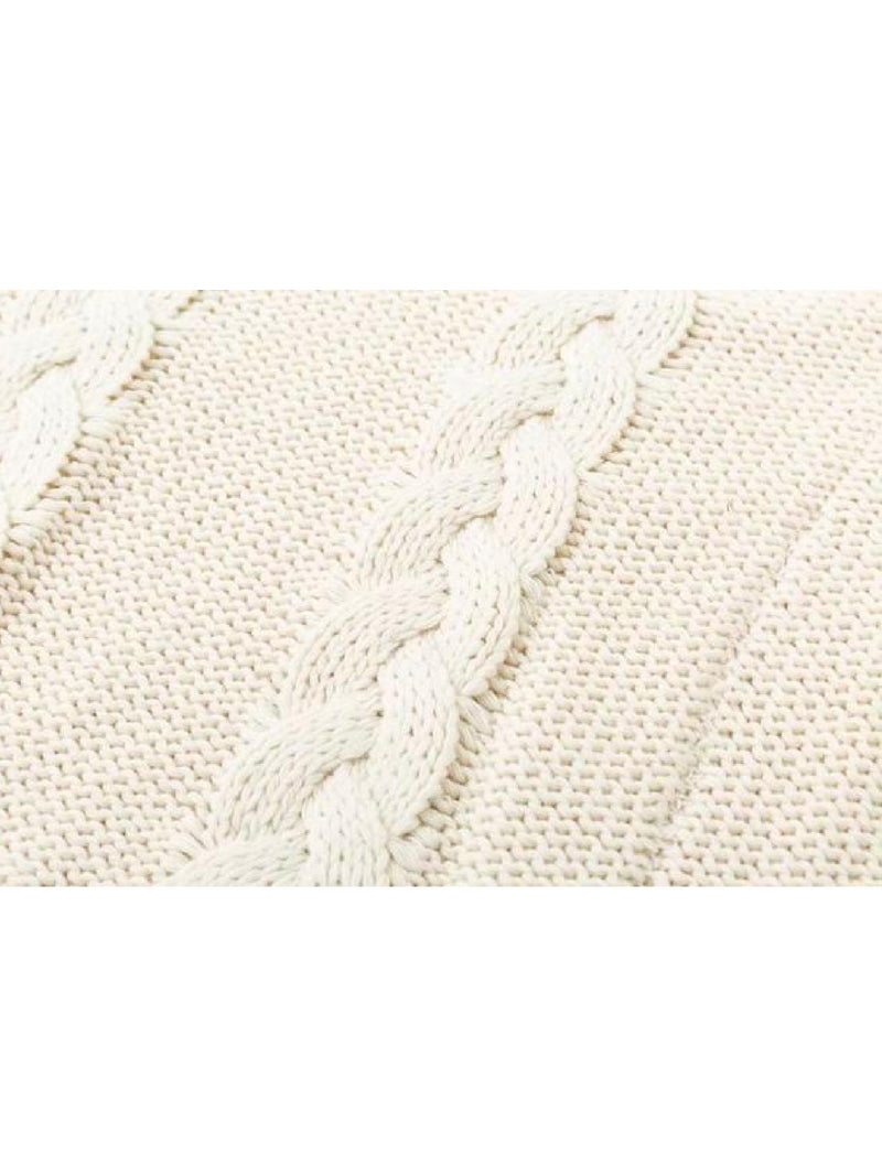 Goodnight Macaroon 'Faye' Braided Knit Cropped Turtleneck Sweater Product Knit