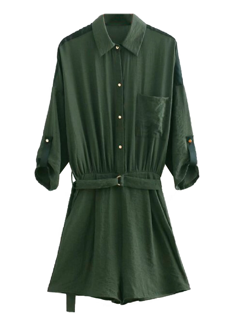 Goodnight Macaroon 'Janelle' Utility Style Belted Shirt Romper Product Green Front