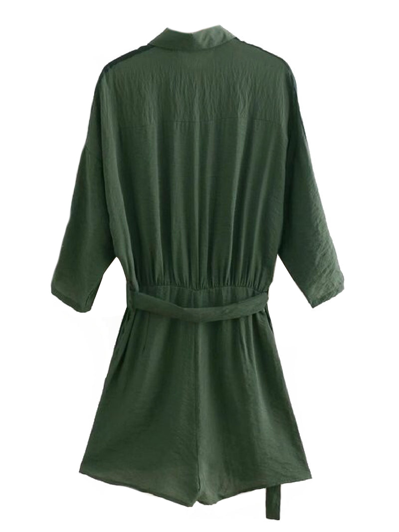 Goodnight Macaroon 'Janelle' Utility Style Belted Shirt Romper Product Green Back