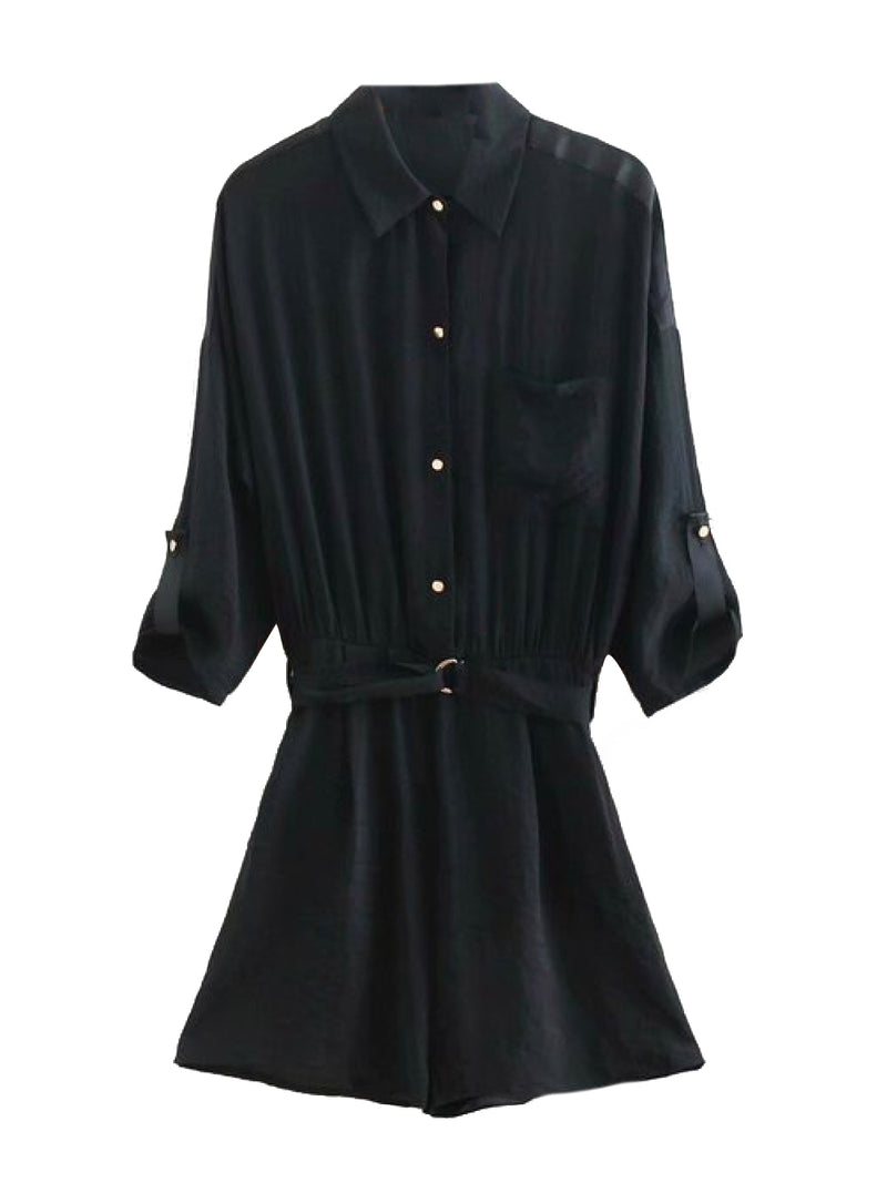 Goodnight Macaroon 'Janelle' Utility Style Belted Shirt Romper Product Black Front