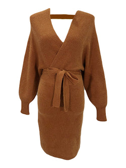 'Carol' Wrap Tied Knitted Dress (5 Colors)