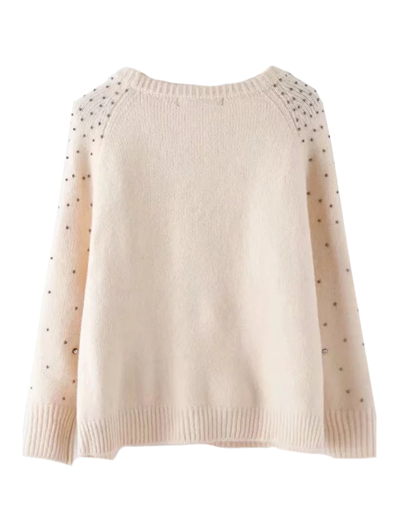 'Fabriel' Studded Crewneck Sweater