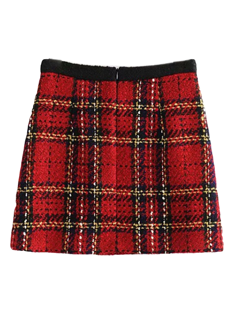 'Lessie' Tweed Plaid Buttoned Pocket Mini Skirt