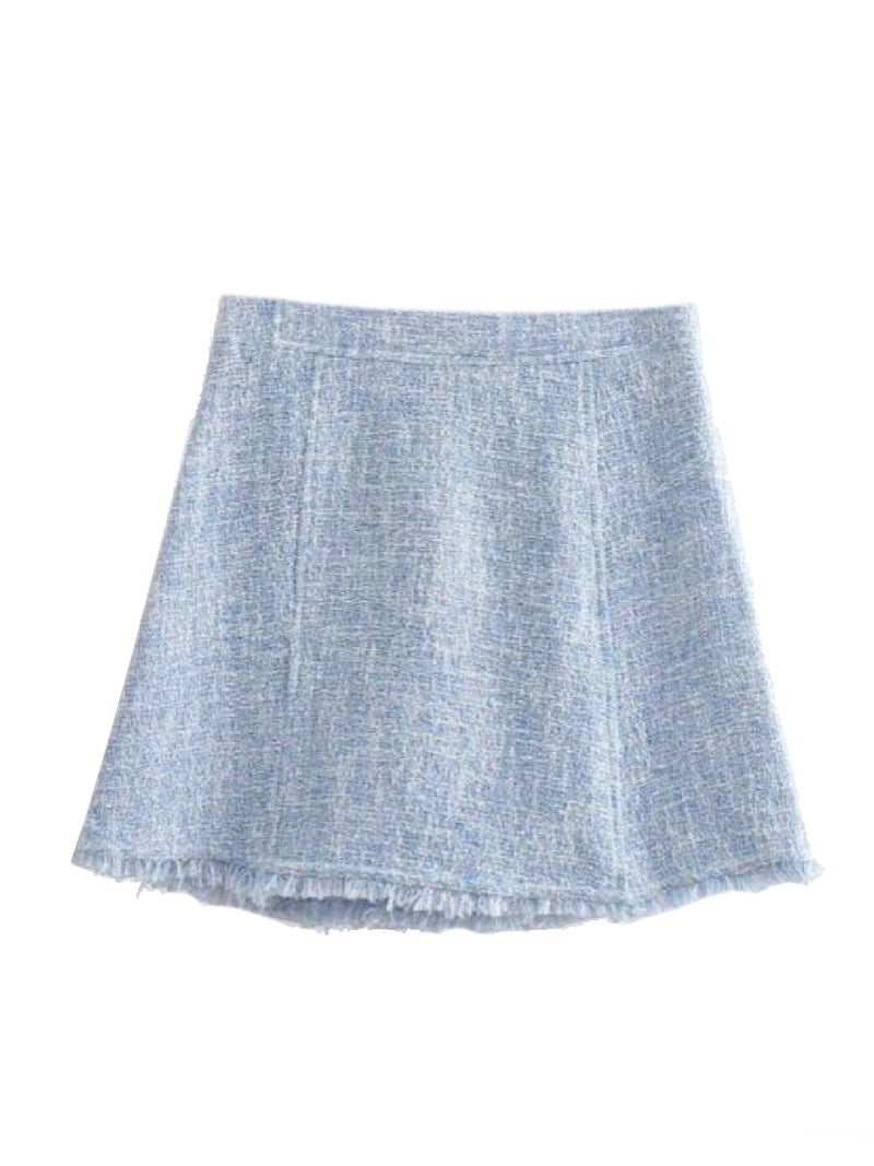 Goodnight Macaroon 'Baleigh' Blue Tweed Mini Skirt Back