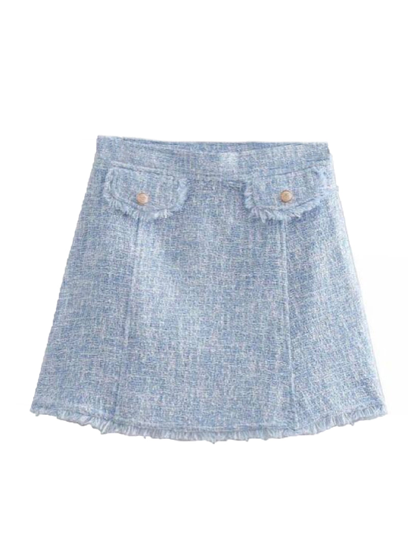 Goodnight Macaroon 'Baleigh' Blue Tweed Mini Skirt Front