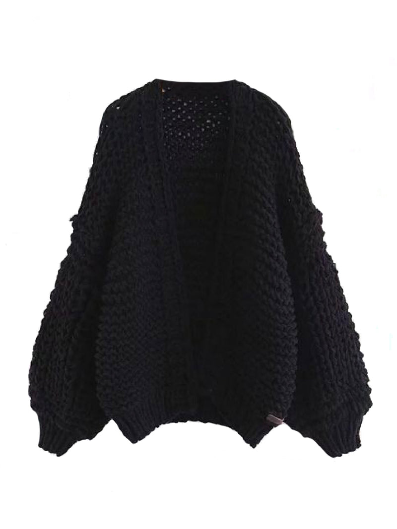 Goodnight Macaroon 'Berti' Chunky Knit Open Cardigan (5 Colors) Black Front