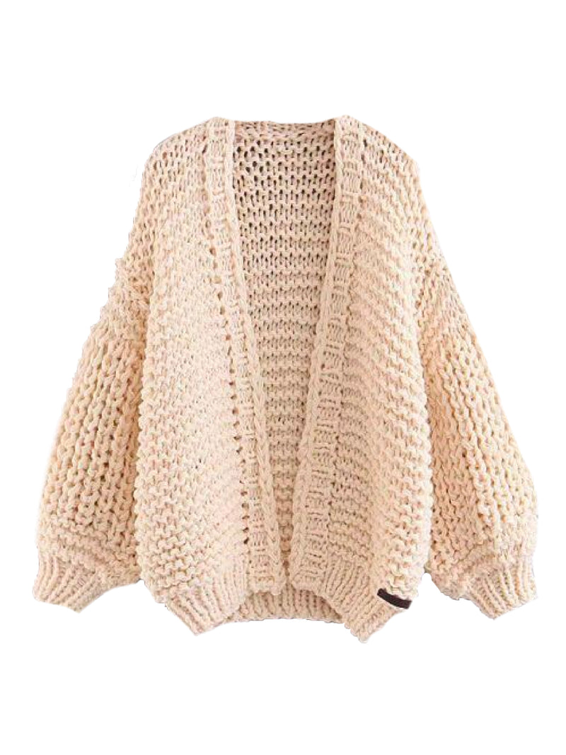 Goodnight Macaroon 'Berti' Chunky Knit Open Cardigan (5 Colors) Cream White Front