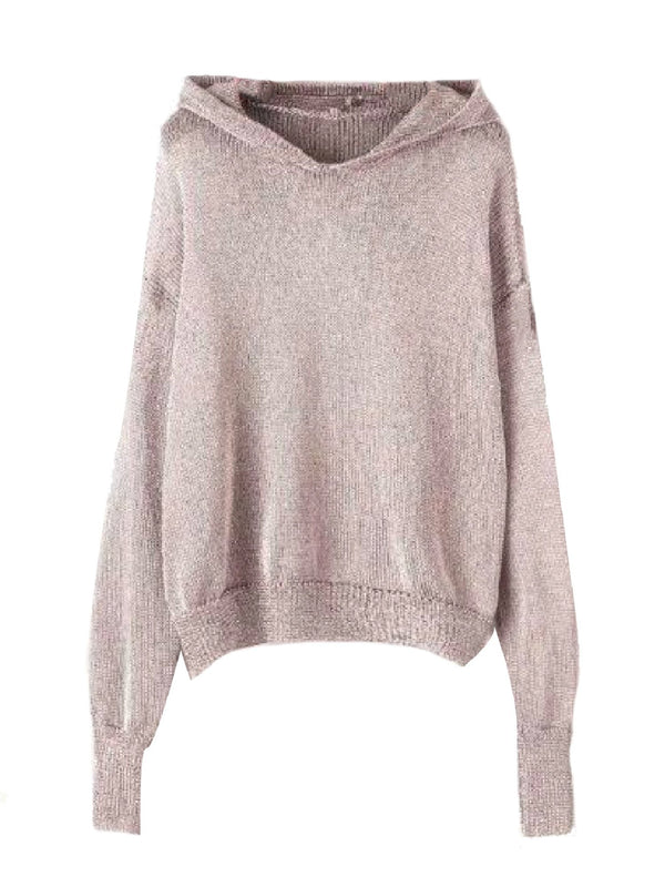 Goodnight Macaroon 'Bliss' Gray Knitted Lightweight Hoodie Front