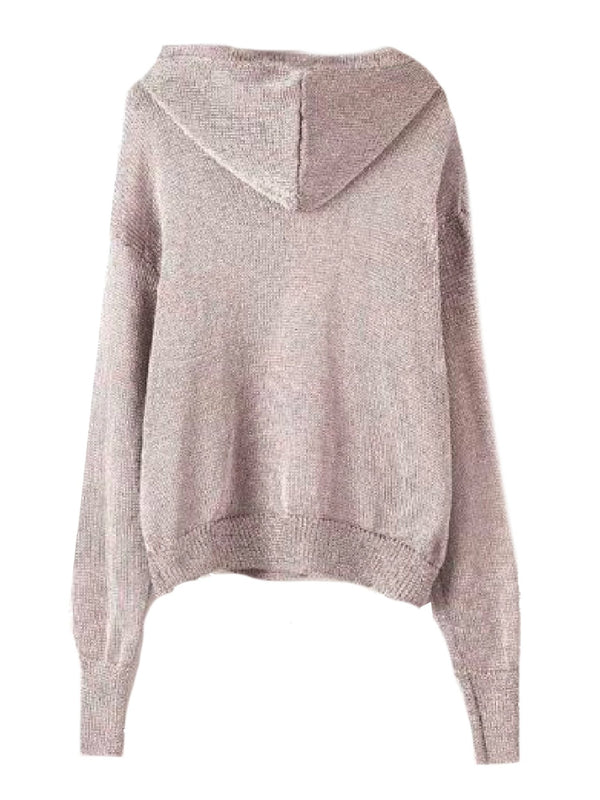 Goodnight Macaroon 'Bliss' Gray Knitted Lightweight Hoodie Back
