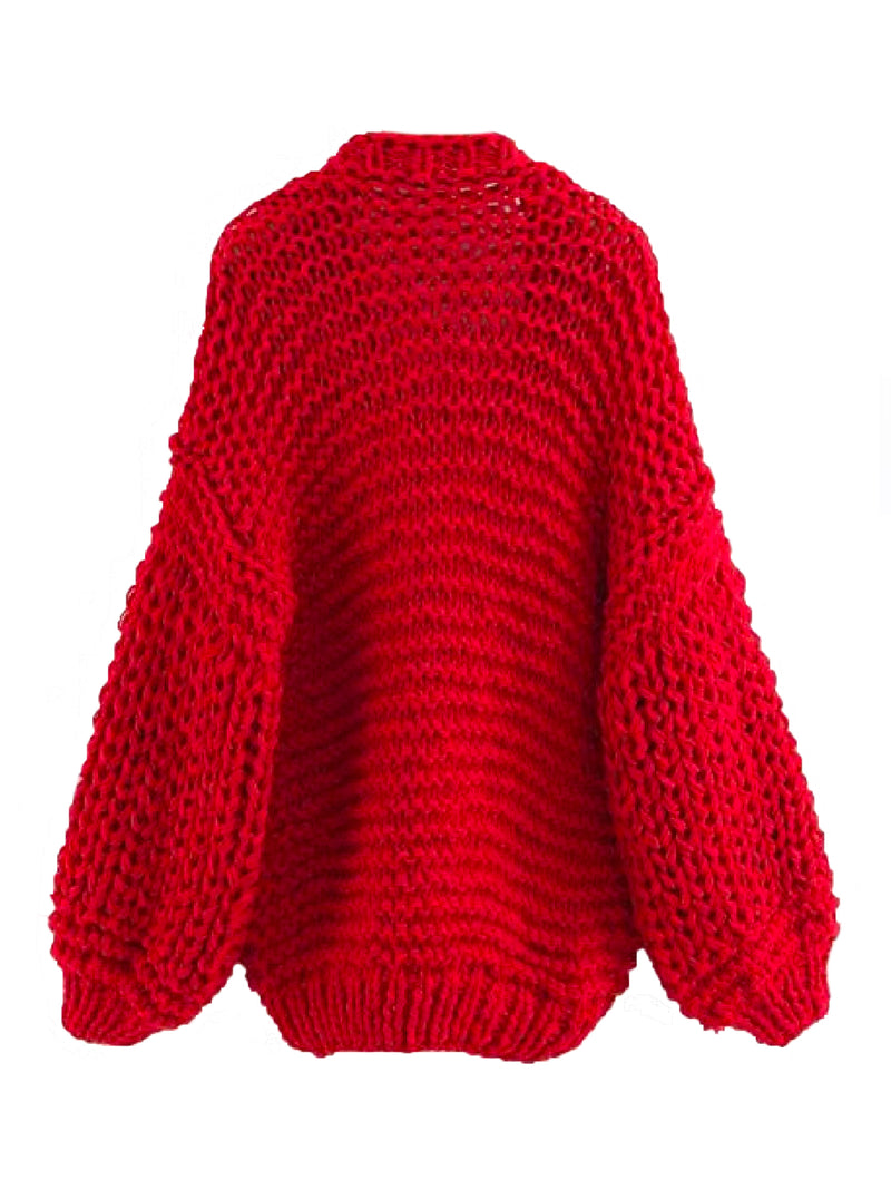 Goodnight Macaroon 'Berti' Chunky Knit Open Cardigan (5 Colors) Red Front