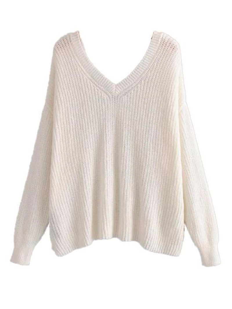 Goodnight Macaroon 'Cady' Slouchy Knitted V-Neck Sweater White Front