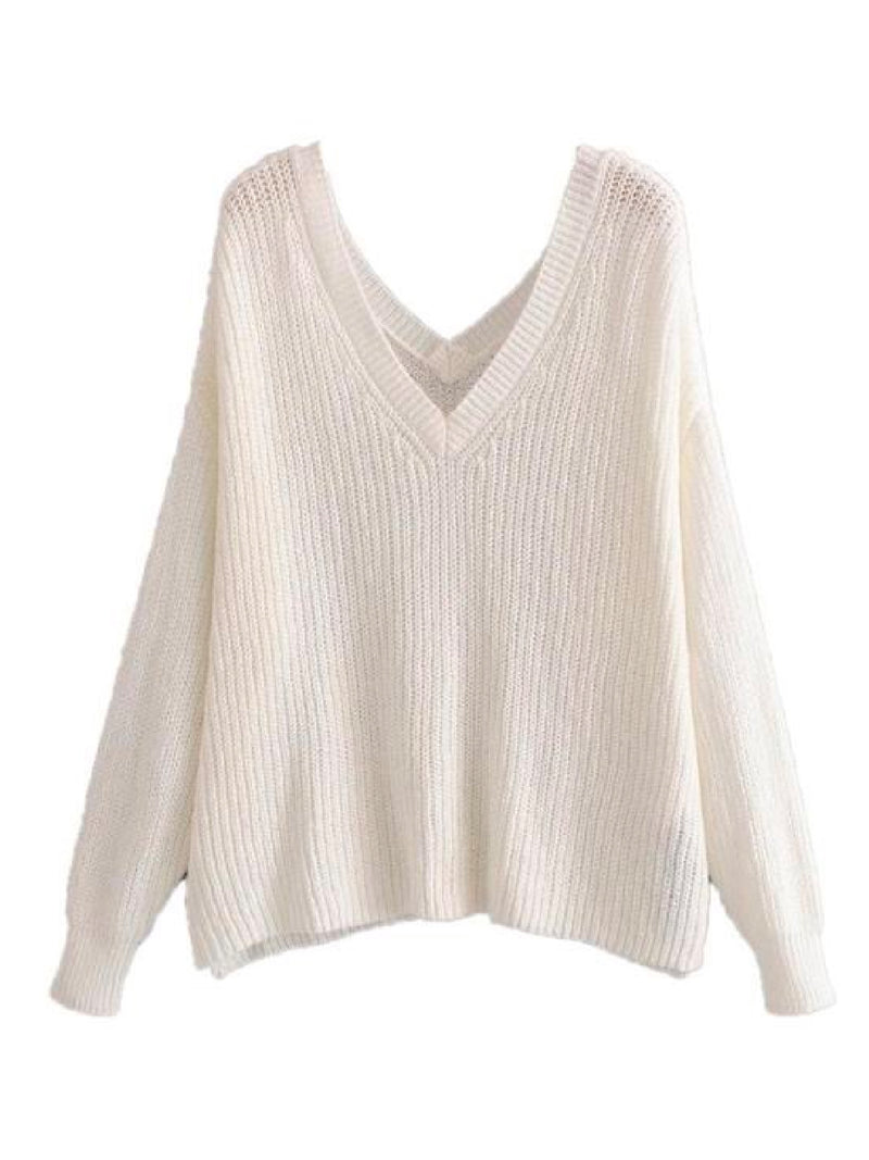 Goodnight Macaroon 'Cady' Slouchy Knitted V-Neck Sweater White Back