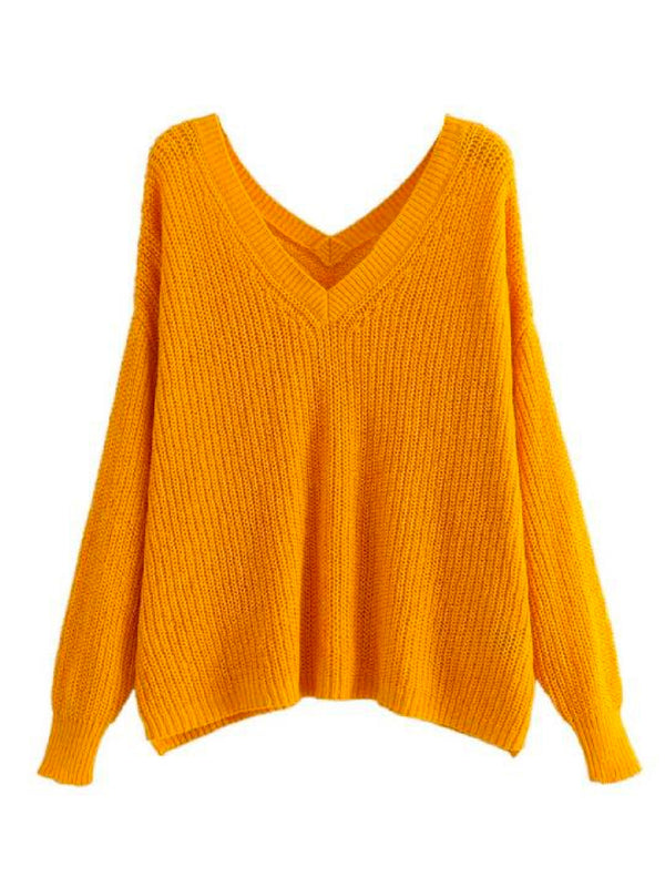 Goodnight Macaroon 'Cady' Slouchy Knitted V-Neck Sweater Yellow Front