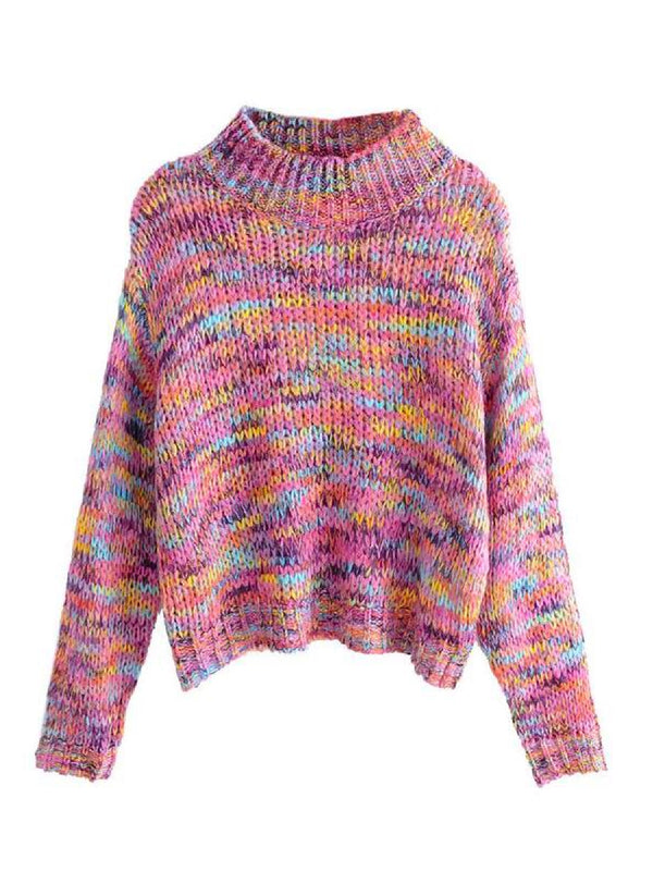 Goodnight Macaroon 'Chelby' Multi-Colored Funnel Neck Knitted Sweater Front