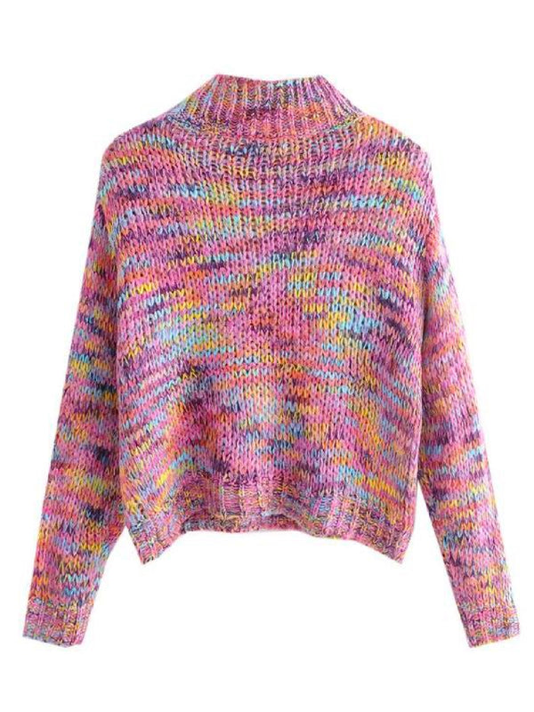 Goodnight Macaroon 'Chelby' Multi-Colored Funnel Neck Knitted Sweater Back