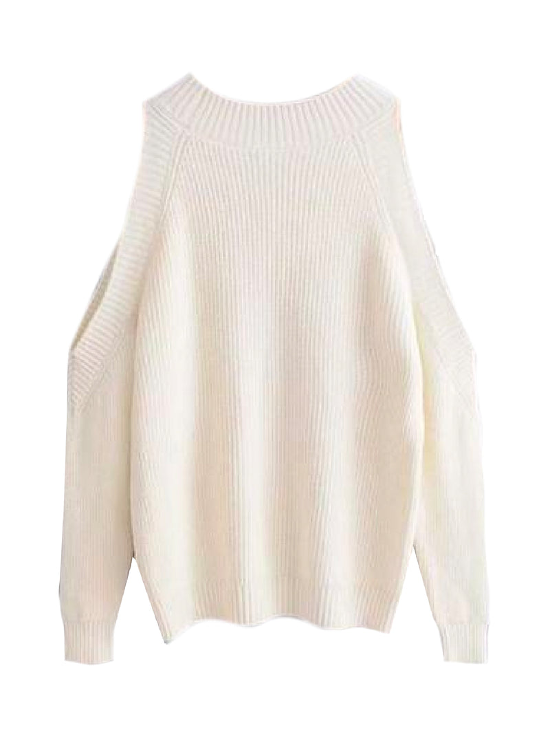 Goodnight Macaroon 'Kathi' Cut-Out Shoulder Crewneck Sweater Cream White Back
