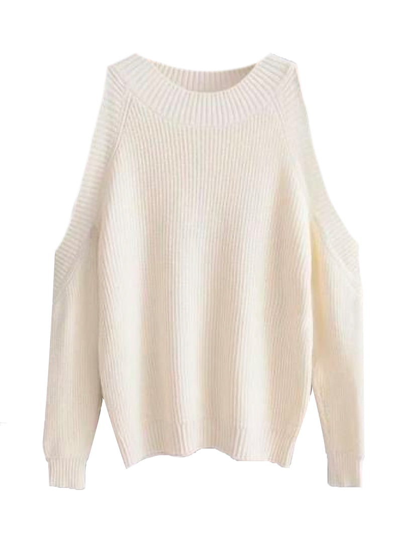 Goodnight Macaroon 'Kathi' Cut-Out Shoulder Crewneck Sweater Cream White Front
