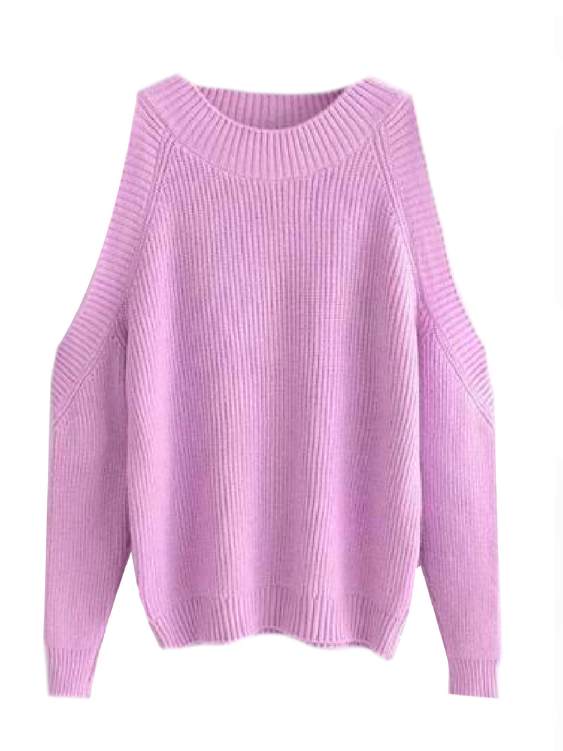 Goodnight Macaroon 'Kathi' Cut-Out Shoulder Crewneck Sweater Pink Front