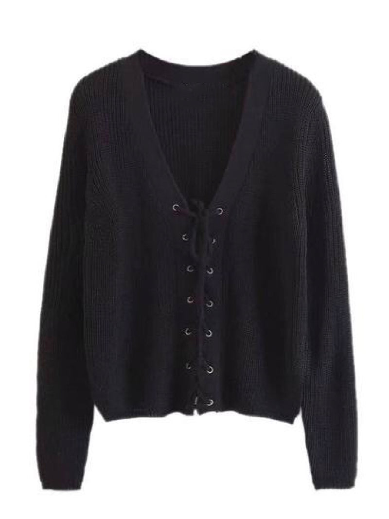 Goodnight Macaroon 'Nellie' Knitted Lace Up V-neck Sweater Black Front