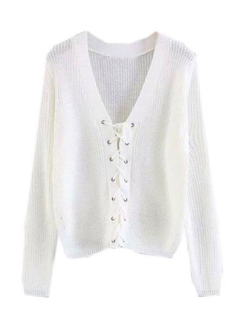 Goodnight Macaroon 'Nellie' Knitted Lace Up V-neck Sweater White Front