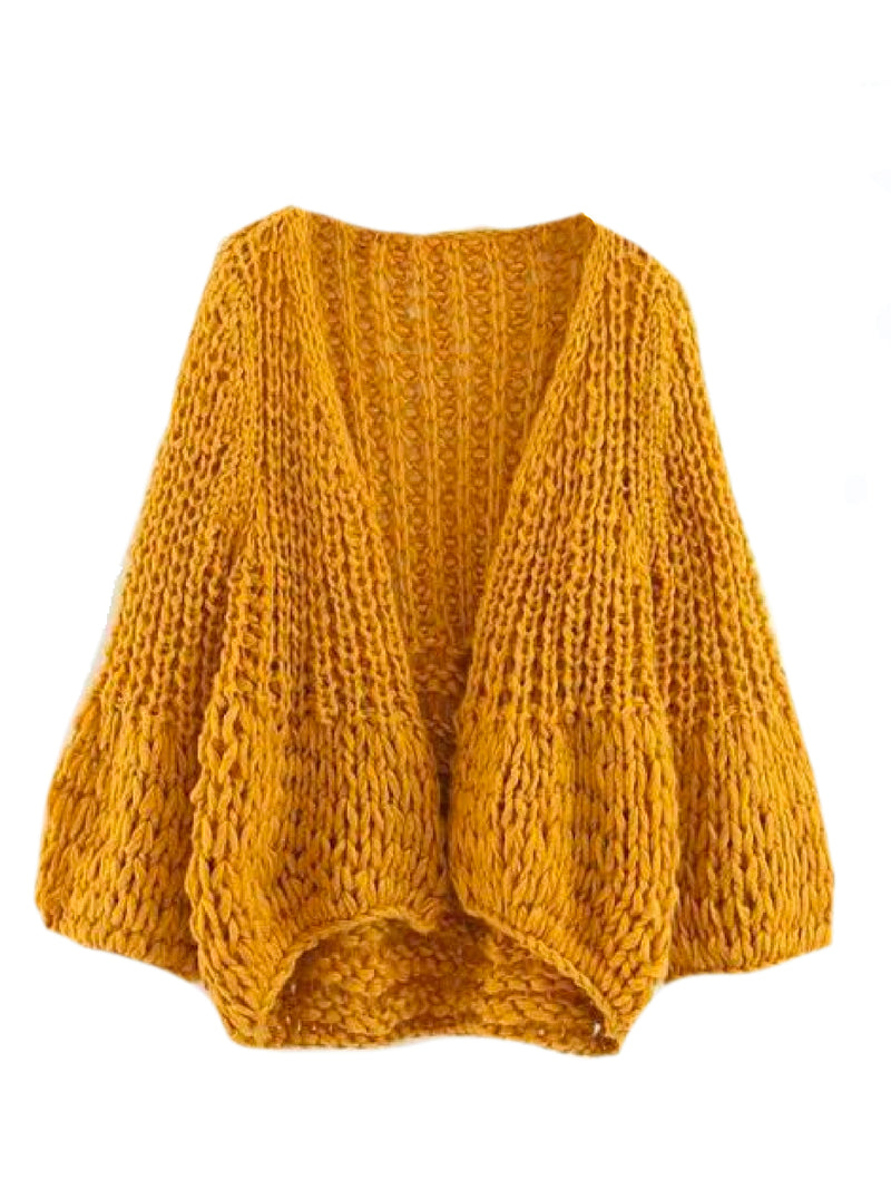 Goodnight Macaroon 'Lillibeth' Chucky Knit Open Cardigan Yellow Front
