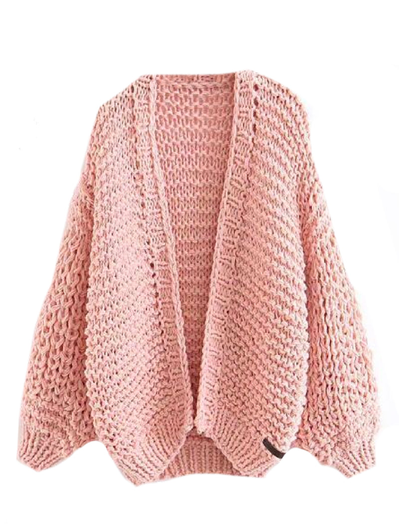 Goodnight Macaroon 'Berti' Chunky Knit Open Cardigan (5 Colors) Pink Front