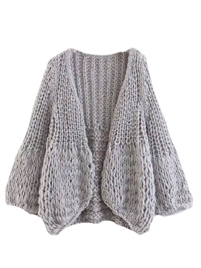 Goodnight Macaroon 'Lillibeth' Chucky Knit Open Cardigan Grey Front