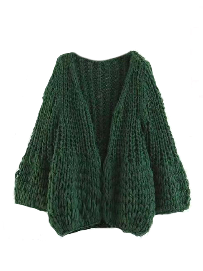 Goodnight Macaroon 'Lillibeth' Chucky Knit Open Cardigan Green Front