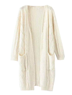 Goodnight Macaroon 'Raeven' Long Cable Knit Cardigan White Front
