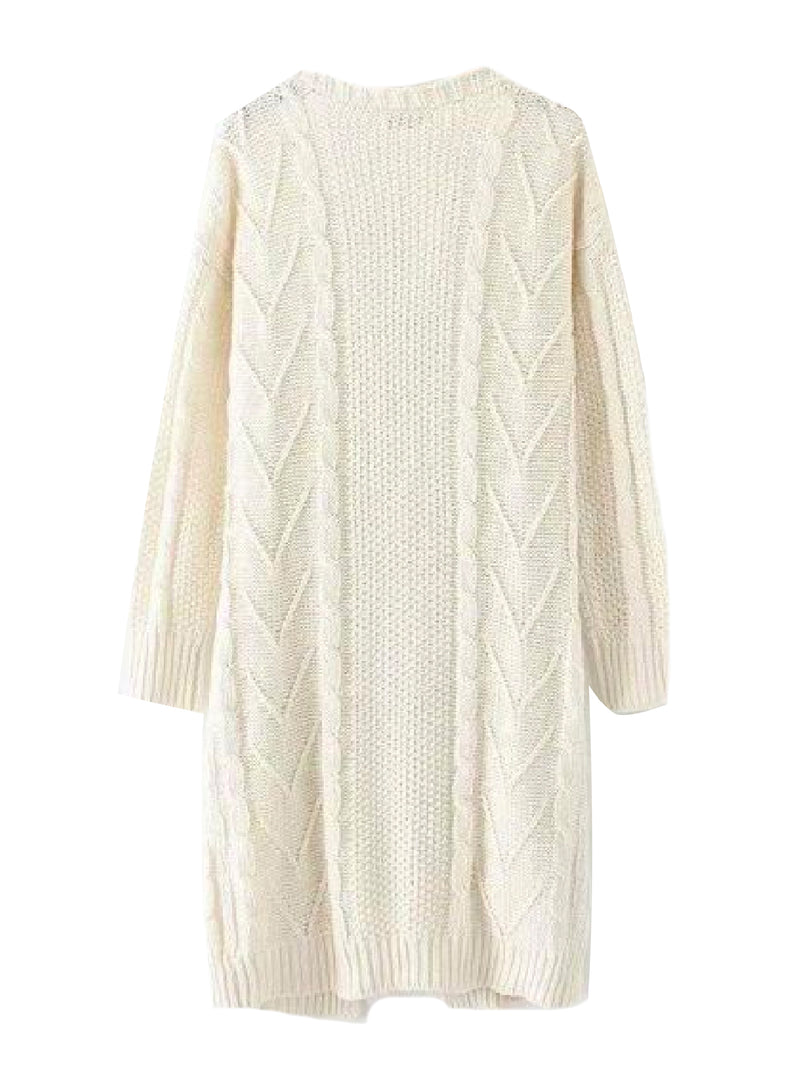 Goodnight Macaroon 'Raeven' Long Cable Knit Cardigan White Back