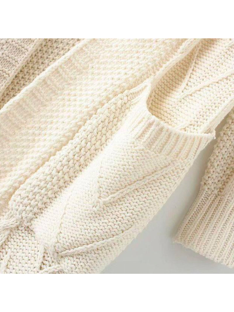 Goodnight Macaroon 'Raeven' Long Cable Knit Cardigan White Pocket