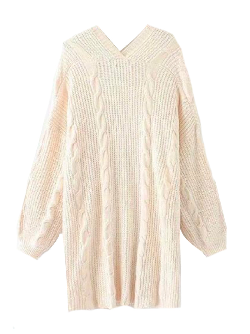 Goodnight Macaroon 'Saundra' Long Cable Knit Pocket Cardigan White Back