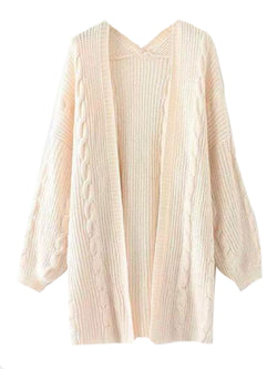 Goodnight Macaroon 'Saundra' Long Cable Knit Pocket Cardigan White Front