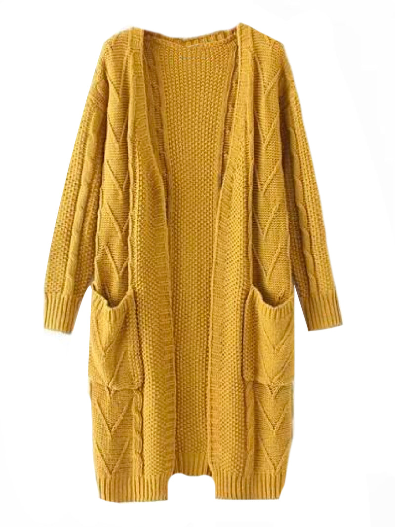 Goodnight Macaroon 'Raeven' Long Cable Knit Cardigan Yellow Front