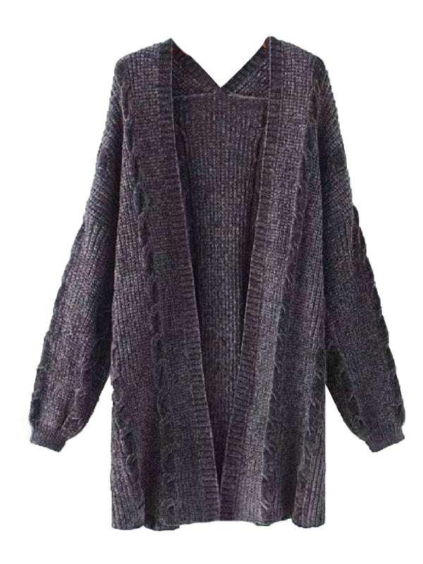 Goodnight Macaroon 'Saundra' Long Cable Knit Pocket Cardigan Gray Front