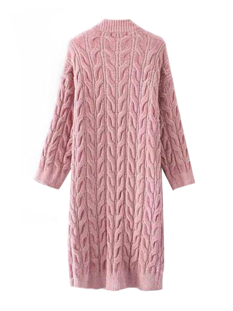 Goodnight Macaroon 'Timia' Cable Knit Long Cardigan Pink Back