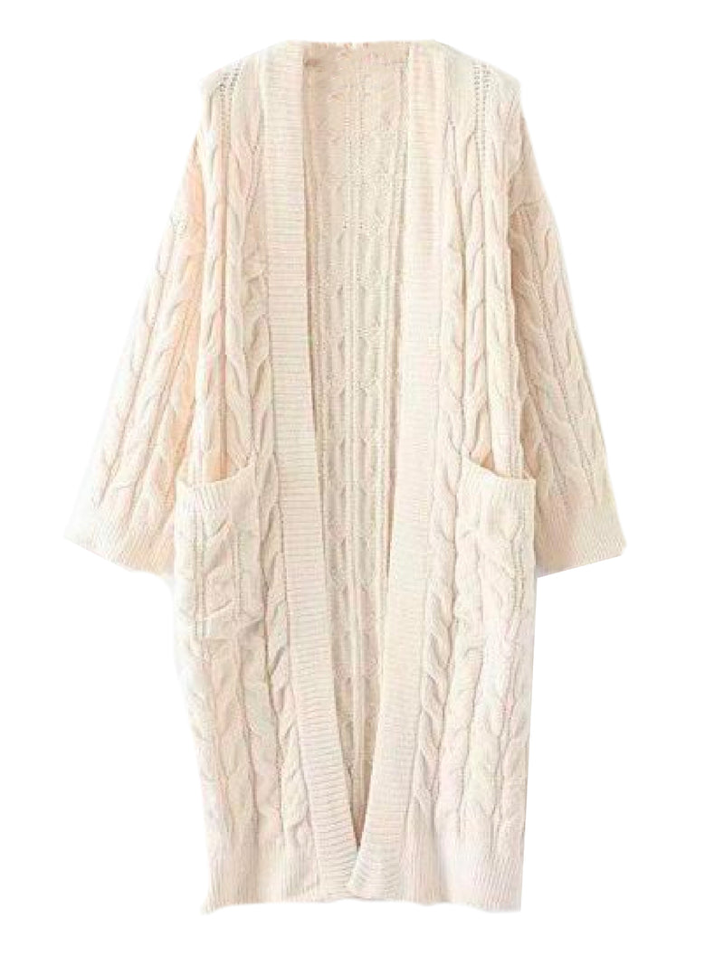 Goodnight Macaroon 'Timia' Cable Knit Long Cardigan Cream Front