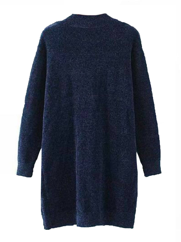 Goodnight Macaroon 'Luvena' Soft Chenille Open Cardigan Blue Back