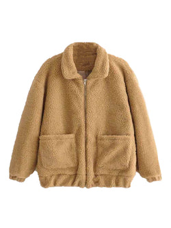 Goodnight Macaroon 'Carole' Teddy Bear Fleece Jacket Front