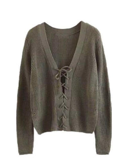 Goodnight Macaroon 'Nellie' Knitted Lace Up V-neck Sweater Green Front