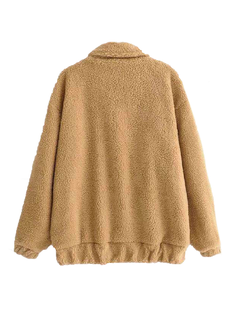 Goodnight Macaroon 'Carole' Teddy Bear Fleece Jacket Back