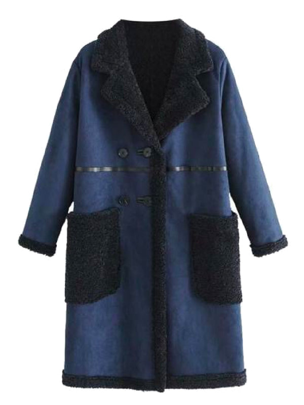 Goodnight Macaroon 'Charla' Faux Suede Shearling Coat Front