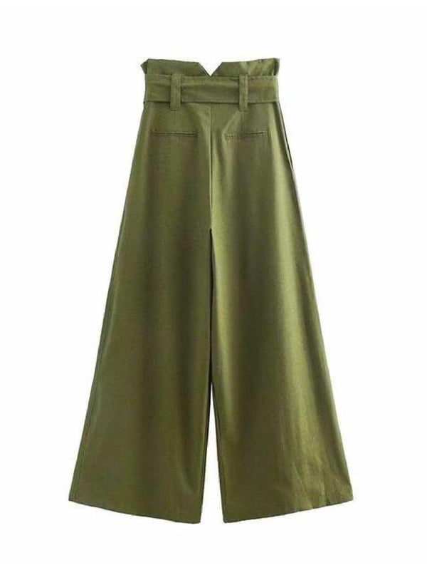 Goodnight Macaroon 'Mercilla' Paper Bag Belted Wide Leg Pants Back