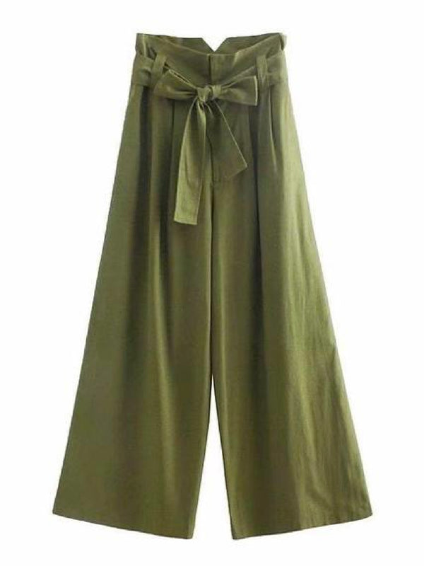 Goodnight Macaroon 'Mercilla' Paper Bag Belted Wide Leg Pants Front