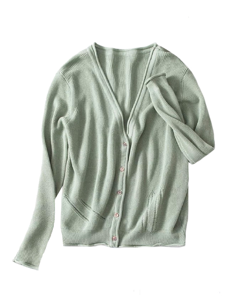 Goodnight Macaroon 'Nora' Distressed Rib-Knitted Button-Up Cardigan Green Front
