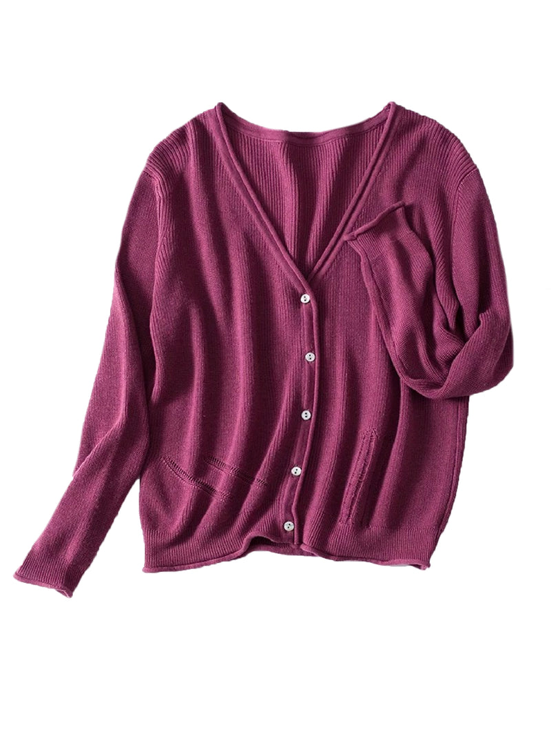 Goodnight Macaroon 'Nora' Distressed Rib-Knitted Button-Up Cardigan Maroon